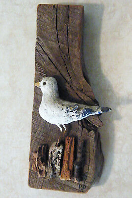 Carved Seagull Bird Wood Figurine HAND PAINTED Signed FOLK WALL ART Nautical