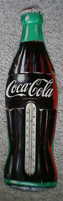 """Vintage Working Clean Tin Coca-Cola Advertising Thermometer 29"""" Tall"""