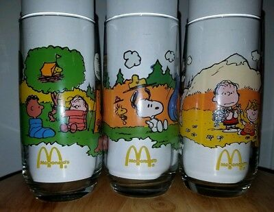 VINTAGE SET OF 3 DIFFERENT McDONALDS CAMP SNOOPY GLASSES COLLECTION