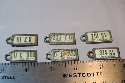 6 DAV License Plate Keychain Tags 1942-1943 Ohio #86 Disabled American Veterans