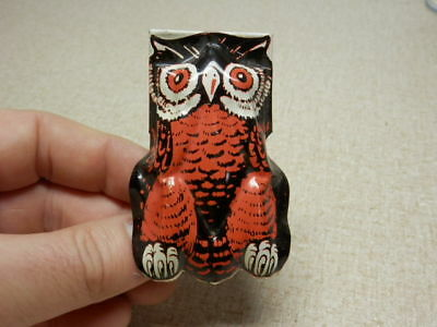 Vintage Old Halloween Tin Litho Toy Owl Clicker