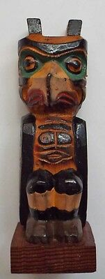 Vintage NWC Eskimo Hand Carved Small Totem Signed