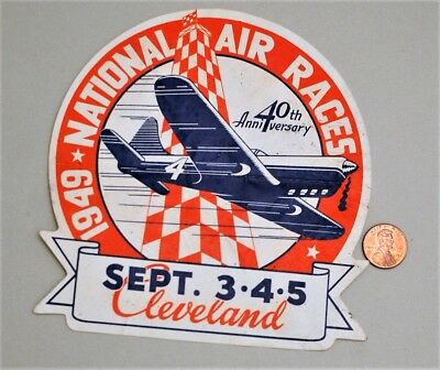 VINTAGE 1949 CLEVELAND 40th NATIONAL AIR RACES & CARLINGS RED CAP ALE ON BACK