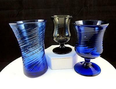 "Blenko Glass 3 Pc Twist Optic Cobalt Blue & Amber 4 5/8"" Tumbler & Wine Goblets"