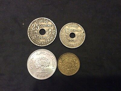 World Coins: Tunisia Lot Of (4) Coins 1919-1960 10, 25, 50 Centime & Milliemes