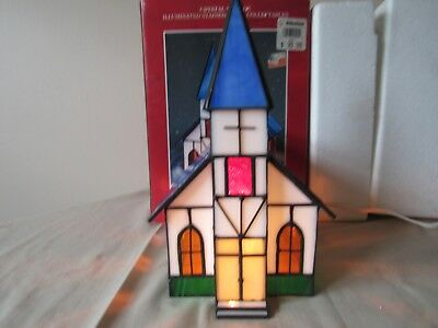 Stain Glass Lighted Crystal Village Chapel.Original Box