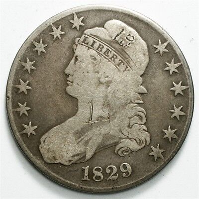 1829 Capped Bust Half Dollar - VG Detail - 50c Silver - Toned