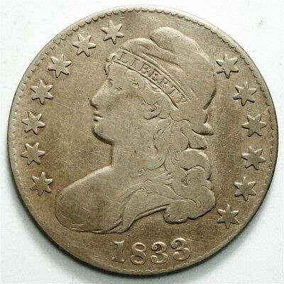 1833 Capped Bust Half Dollar - 50c Silver - Toned