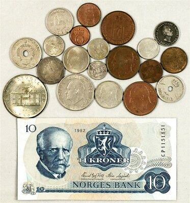 Lot of 20 Coins from Norway (1854-1964) - w/ 1 Norway 10 Kroner Banknote