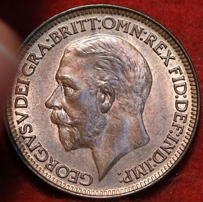 Uncirculated Red 1927 Great Britain Farthing Foreign Coin