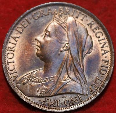 Uncirculated Red 1899 Great Britain Penny Foreign Coin