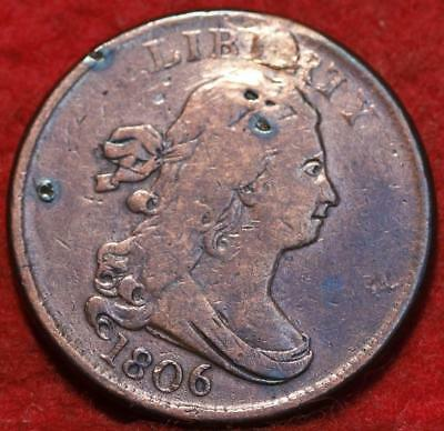 1806 Philadelphia Mint Copper Draped Bust Half Cent