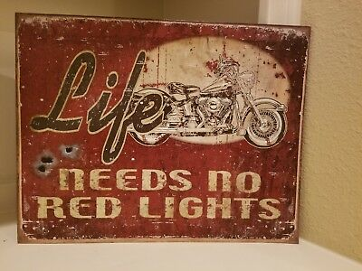 Retro Mancave Advertising Motorcycle Sign