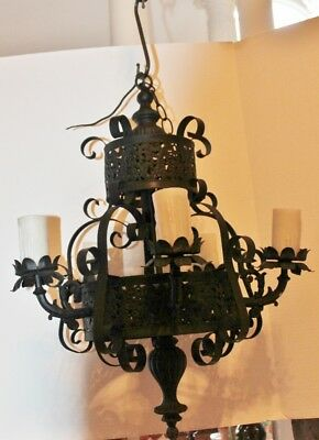 Antique 5 Arm 2 Tier Cast Iron Chandelier Ceiling Light Gothic home decor