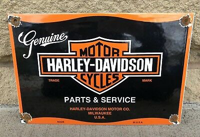 Vintage porcelain HARLEY DAVIDSON Motorcycles parts sign gas pump plate station