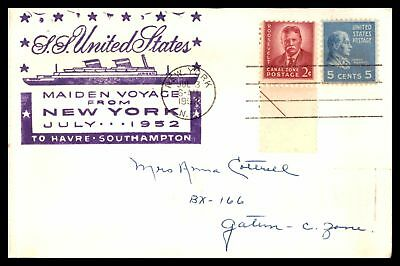 Ss United States New York To Le Havre July 1952 Cachet On Paquebot Cover Prexie