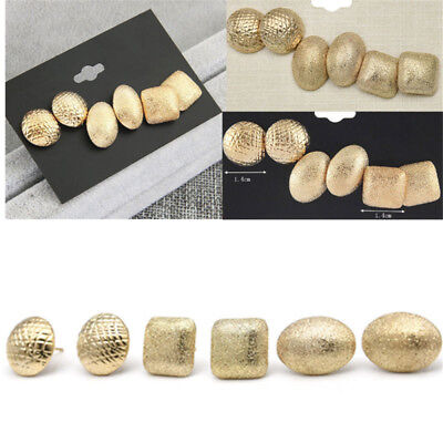 3Pair Elegant Women's Gold Plated Ear Stud Earrings Wedding Party Jewelry Gift