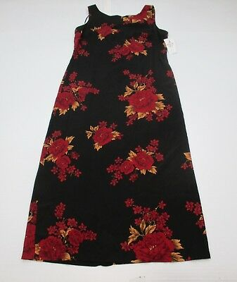 new STUDIO I DR184 Women s Size 14 Sleeveless Floral Black Red Maxi Shift  Dress 78ad3d621