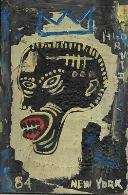 "Rare Jean-Michele Basquiat N York Street Art Postcard Painting""SAMO HEAD"""
