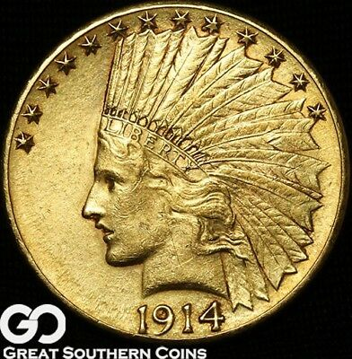 1914-D Gold Eagle, $10 Gold Indian ** Free Shipping!