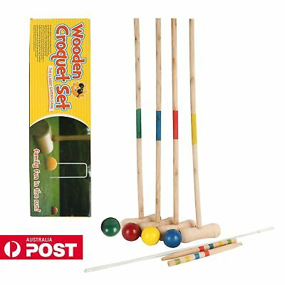 AU Jumbo Croquet Set Wooden Outdoor Lawn Game Set 77CM Mallets 4 Player Set