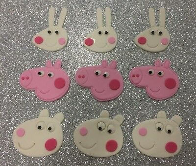 Peppa Pig Cupcake/Cookie edible Fondant Toppers - Set 24 (7cm x 7cm) + 1 Large