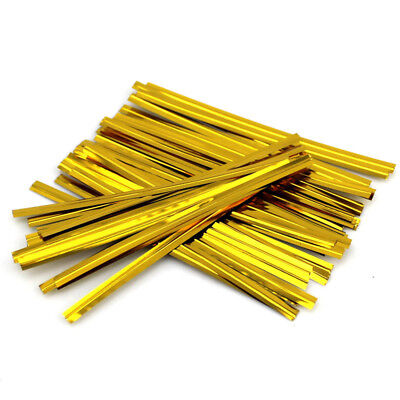 800 Pcs Gold Metallic Twist Ties For Candy Lollipop Cake Pop Cello Bag Party