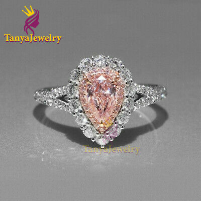 2Ct Baby Pink Pear Moissanite Double Halo Engagement Ring  14K White Gold Finish