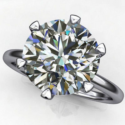3Ct Round-Cut Diamond Solitaire Promise Engagement Ring 10K Real White Gold