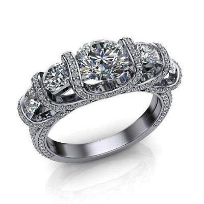 5 Stone 3Ct Round-Cut Moissanite Solitaire Engagement Ring 14K White Gold Fn