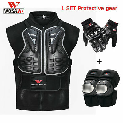 Motorbike Protective Gear Armor Vest chest back Guard Knee pads Glove Motorcycle