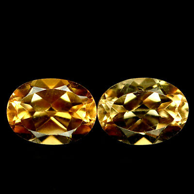 2.42 CT VVS NATURAL PAIR GOLDEN YELLOW BRAZIL CITRINE OVAL 6 X 8 mm.