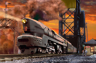 PRR T-1 4-4-4-4 DEPARTS CHICAGO, ART BY ANDY ROMANO LIMITED 1st EDITION R16-280