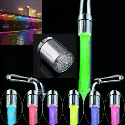 LED Water Stream Faucet Light Automatic 7 Colors Changing Shower Spout Sink UP