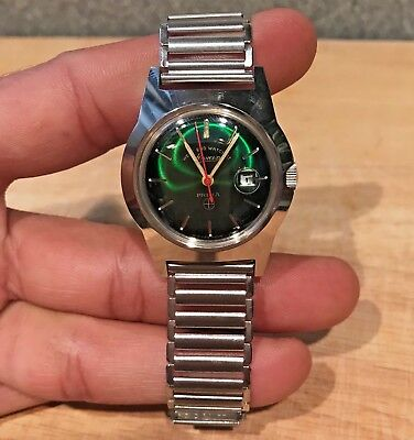 Vintage WEST END PRIMA watch 1960s new old stock rare new&clean Swiss made green