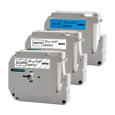 "Label Tape 3PK MK121 MK231 MK531 0.47""P-Touch Compatible Brother PT65 PT80 PTM90"