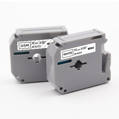 "Label Tape 2PK MK231 MK131 12mm 0.47"" P-Touch Compatible Brother PT65 PT70 PTM95"