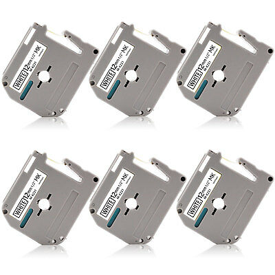 "Label Tape 6PK MK-231 12mm 0.47"" P-Touch Compatible for Brother PT85 PT90 PT110"