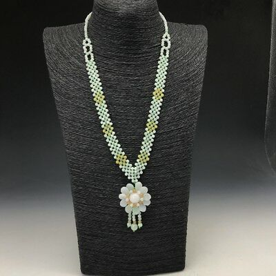Exquisite Chinese 100% natural hand-carved flower jade necklace.  w208