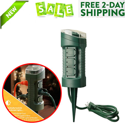 OUTDOOR YARD STAKE 6 Outlet With Photo Cell Power Cord Built In Timer Plug Green