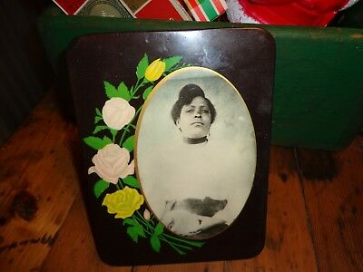 Antique Lovely  African American Lady Holding a Cat Celluloid Photo Frame