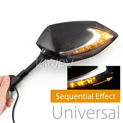 Lucifer sequential LED carbon look mirrors 8mm for GY6 SUNL TANK ROKETA JONWAY