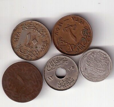 Five Early Egyptian Coins One Silver