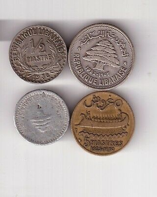 FOUR Lebanese COINS ONE SILVER