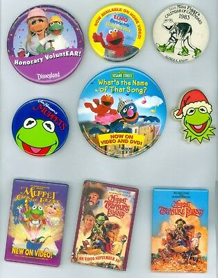 9 Vintage 1980s-00 Assorted Muppets & Sesame Street Advertising Pinback Buttons
