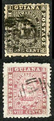 British Guiana 1854 8c Pink Forgery with Geniune 1c for comparison