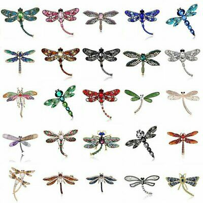 Retro Dragonfly Crystal Brooch Pin Costume Badge Womens Mens Jewellery Gifts