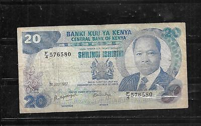 KENYA #20f 1987 10 SHILLING VG CIRC OLD BANKNOTE PAPER MONEY CURRENCY BILL NOTE