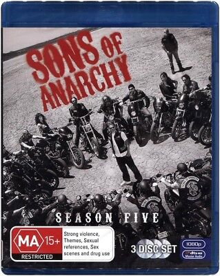 "Clearance ""SONS OF ANARCHY: Season 5"" Blu-ray, 3 Disc Set - Region [B] NEW"