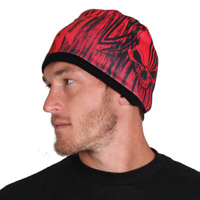 Printed Warm Beanie Hot Leathers Mens Red Skull Over The Top Motorcycle Biker